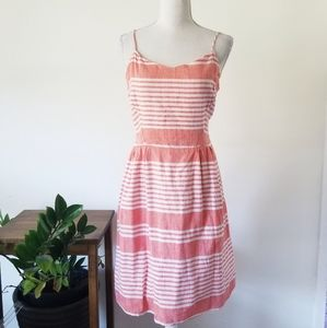 Old Navy Striped Cotton Summer Coral Pink Dress L
